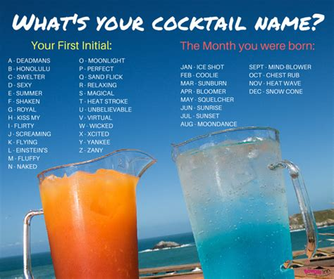 cocktail drinks names what s your cocktail name the bowgie inn