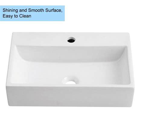 decoraport white rectangle ceramic above counter vessel