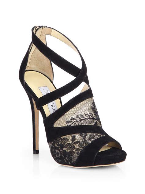 jimmy choo platform sandals jimmy choo vantage suede lace platform sandals in black