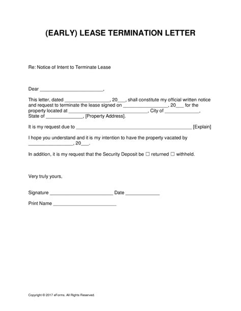 lease termination template free early lease termination letter template for