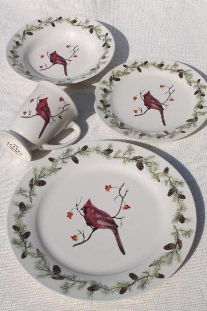 home goods sonoma stoneware red cardinal bird  winter christmas holiday dinnerware