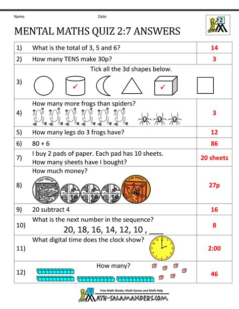 Printable Worksheets Year 7 | printable mental maths year 2 worksheets