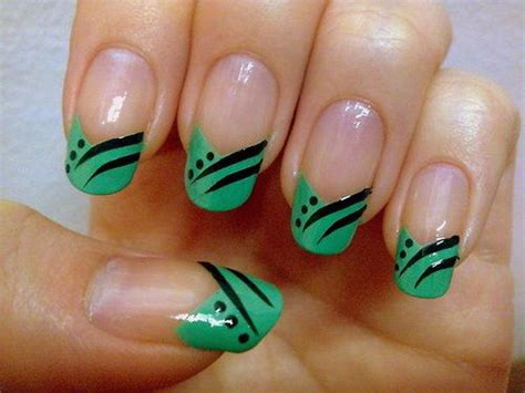 Easy Nail Art Green   green nail designs hative
