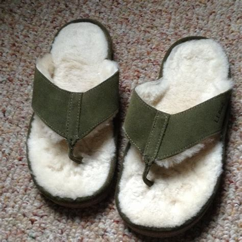 shearling flip flop slippers 57 ll bean shoes suede and shearling flip flops