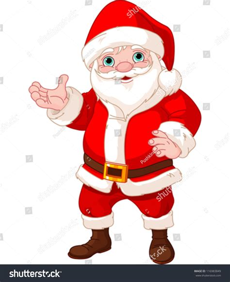 free standing santa claus santa claus standing showing to copy space stock vector