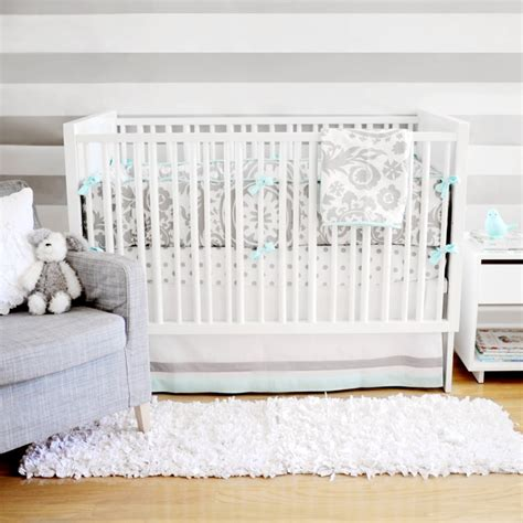 Grey And Turquoise Crib Bedding Turquoise And Gray Crib Bedding Contemporary Nursery New Arrivals Inc