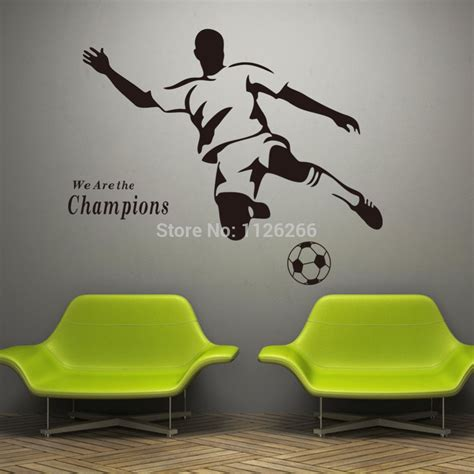 Pink And Gray Bedroom Designs - soccer wall sticker football player decal sports decoration mural for boys kids room decor in