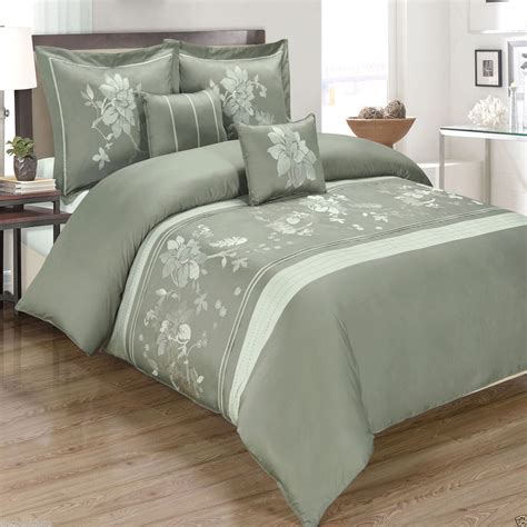 6pc myra grey duvet cover bedding set embroidered with