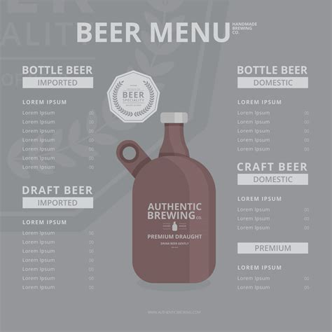 Craft Beer Growler Menu Template Download Free Vector Art Stock Graphics Images Craft Menu Template