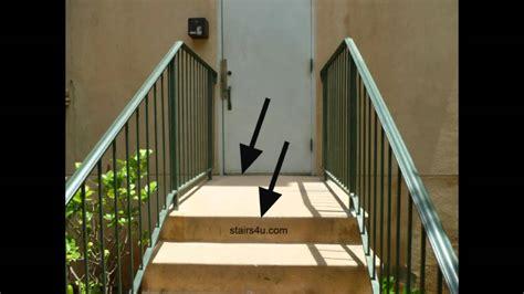 door swing into stair landing stairway building code information doors and landings