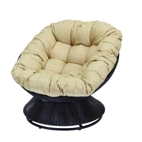 hampton bay papasan patio chair  tan cushion
