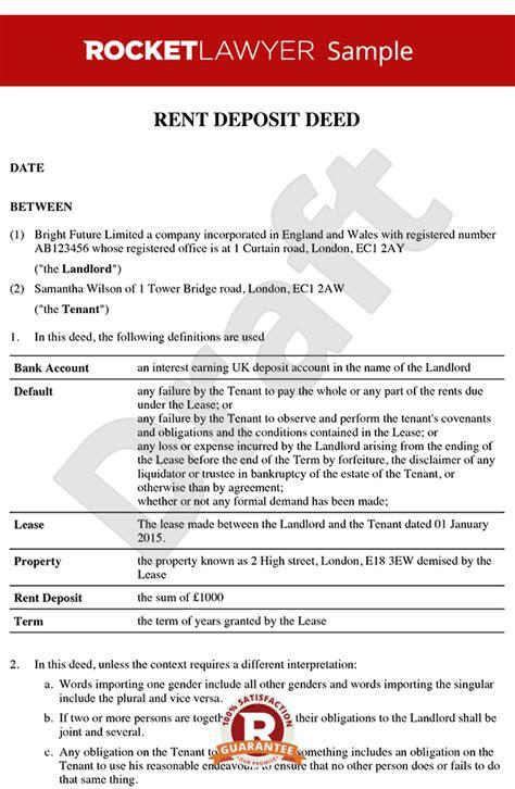 deed of ownership template rent deposit deed commercial rent deposit deed