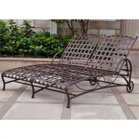 double chaise lounge patio santa fe wrought iron double patio chaise lounge 3572 dbl