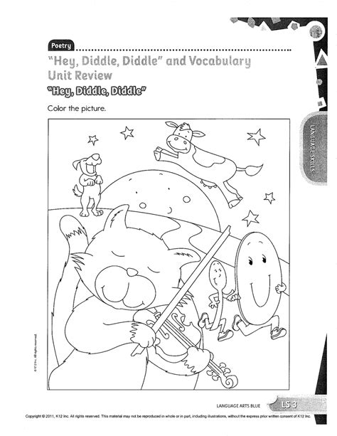 hey diddle the cat and fiddle coloring pages sketch