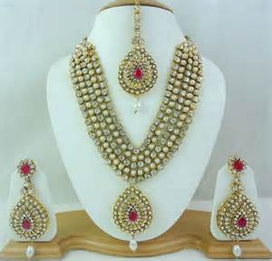bridal gold sets pearl pink rani haar gold tone necklace bridal jewelry set 4 pcs prepare for the