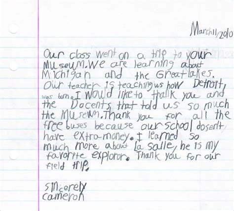 thank you letter to child s sle adopt a class detroit historical society