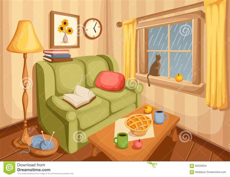 living picture living room interior vector illustration stock vector