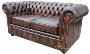 chesterfield 2 seater antique brown leather sofa