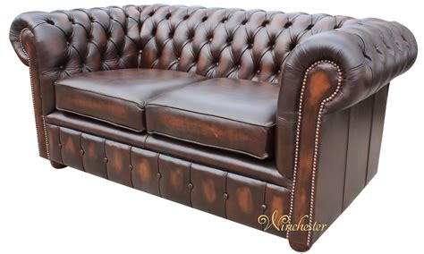 Chesterfield London 2 Seater Antique Brown Leather Sofa 2 Seater Chesterfield Sofa