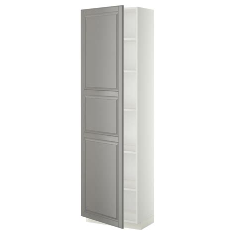 ikea white cabinets metod high cabinet with shelves white bodbyn grey