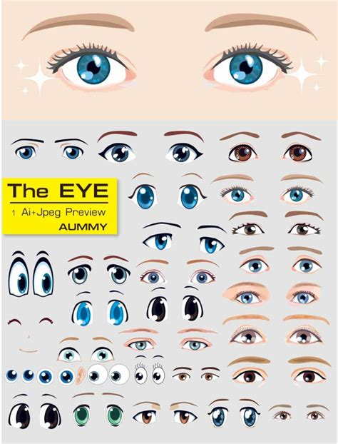 printable doll eyes アニメ風 目のイラスト素材30個 ベクターデータ all free clipart