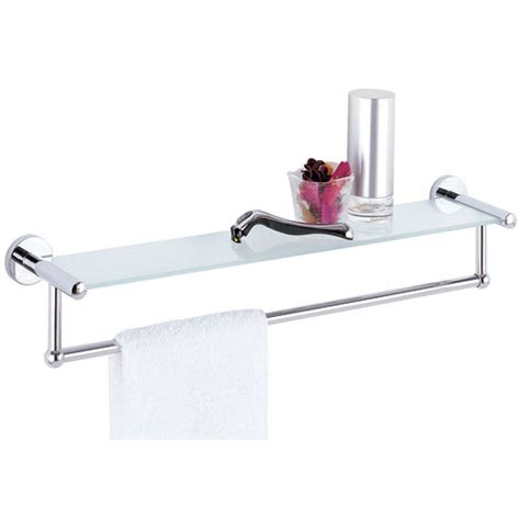 glass shelf and towel rack in wall towel racks