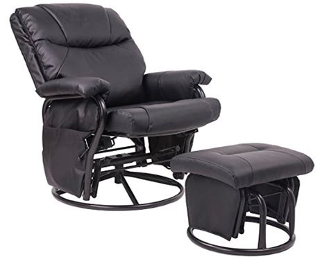 black glider rocker with ottoman black leatherette cushion glider rocker chair w ottoman