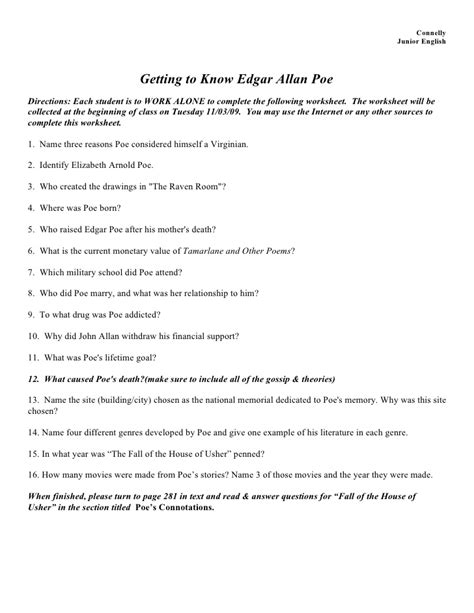 edgar allan poe biography worksheet answers edgar allen poe backgr info worksheet