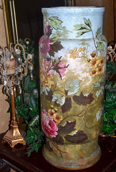 Pink Floor Vase by Colossal Royal Bonn Tapestry Scenic Floor Vase With