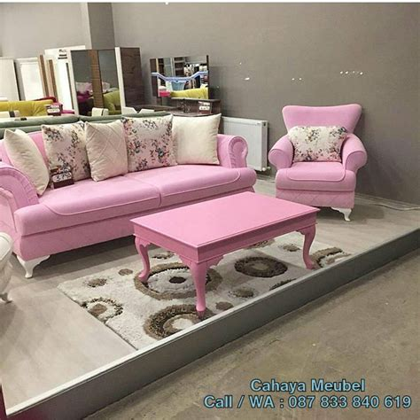 Kursi Tamu Set Sofa Pink Chester Mewah Cantik Meja Teras Makan Bangku sofa tamu modern minimalis cahaya mebel jepara