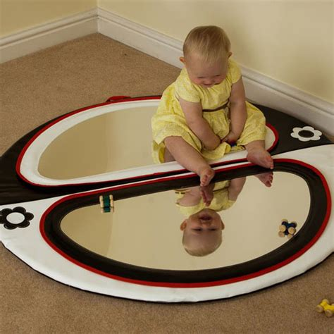 baby double mirror floor pad black white