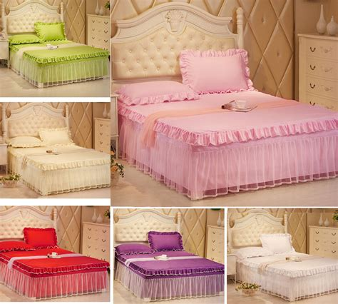 Valance Bedding lace bedding fitted sheet bed skirt valance and pillowcases size ebay