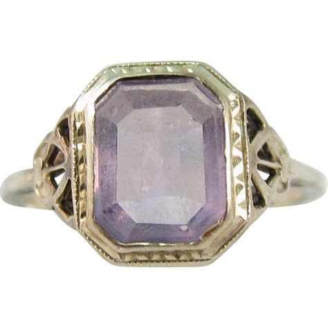 deco amethyst ring deco 14k white gold amethyst ring 1920s from