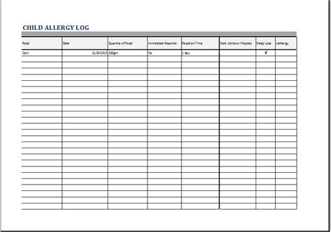 child allergy log template for excel printable