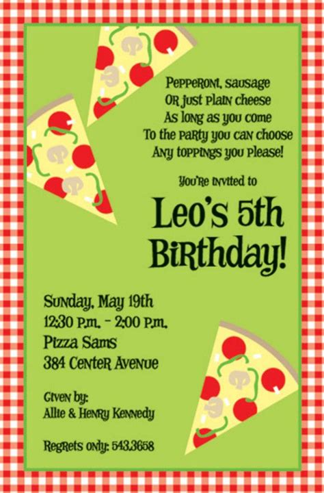 Pizza  Ee  Birthday Ee   Party Invitation Wording Pizza Party