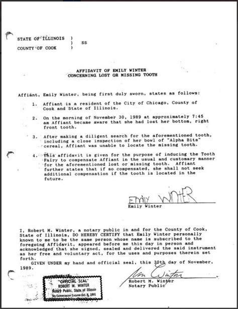 affidavit for the tooth fairy neatorama