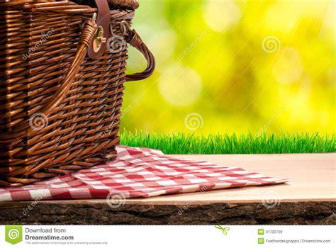picnic basket   table stock image image  nature
