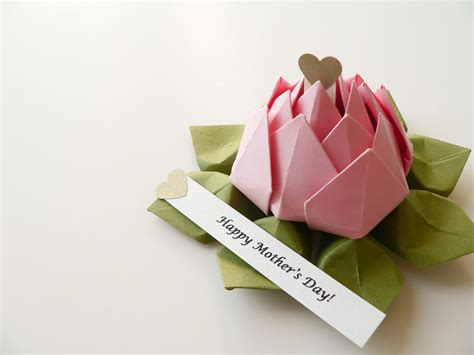 Mothers Day Origami - personalized s day origami lotus flower in blossom