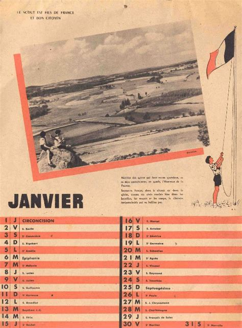 Calendrier De 1948 Calendrier Scouts De De 1948 Latoilescoute