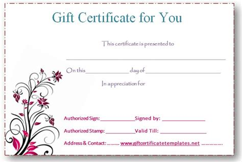 downloadable gift certificate template 5 best images of free editable printable gift certificates