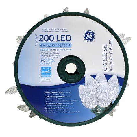 shop ge 200 count white c6 led christmas string lights