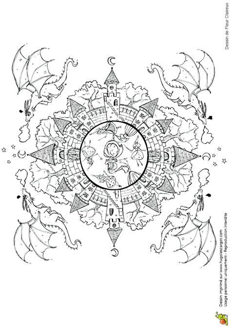 Dessin 224 Colorier D Un Mandala L 233 Gendaire La Belle Au Coloriage Chateau Disney L