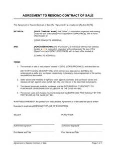 agreement to rescind contract of sale template amp sample