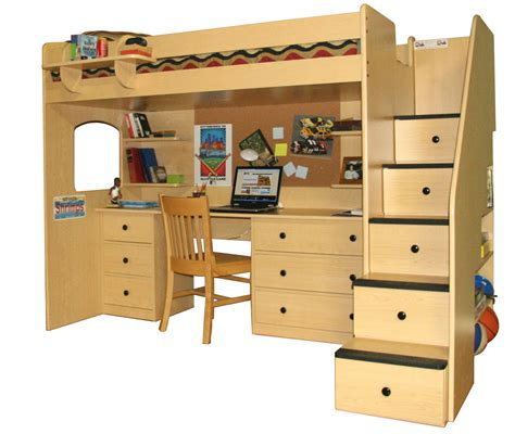 loft bunk bed with desk and lots of drawers storage