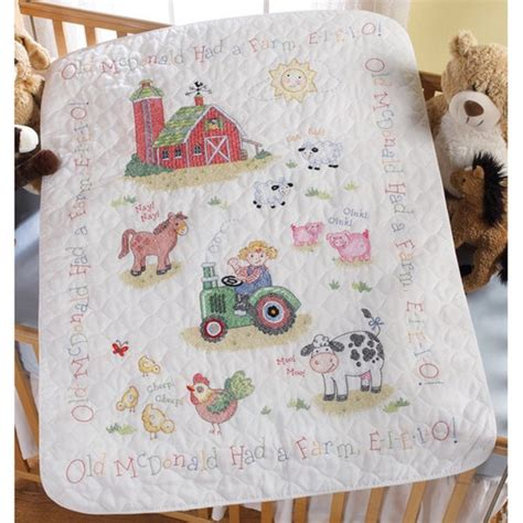 shop   farm pre quilted crib cover stamped counted
