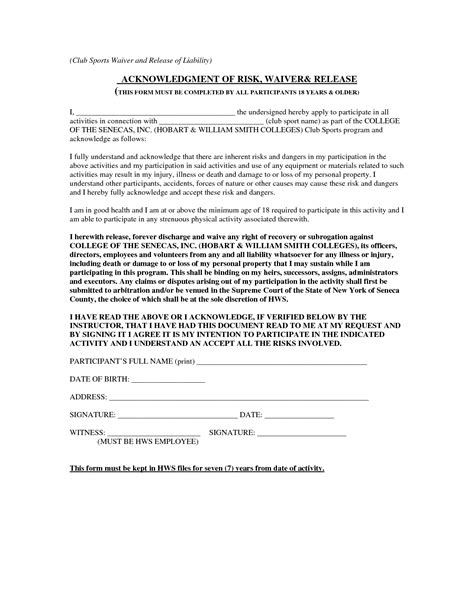 waiver form template for sports best photos of release of liability waiver template