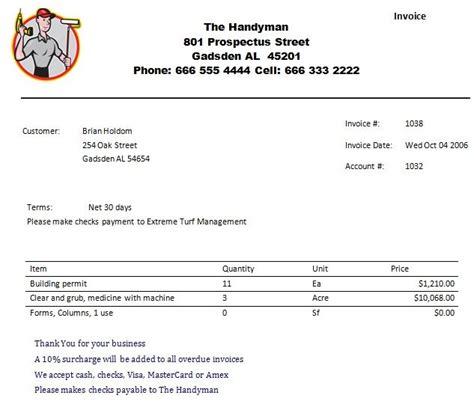 handyman receipt template printable handyman invoice business invoice template
