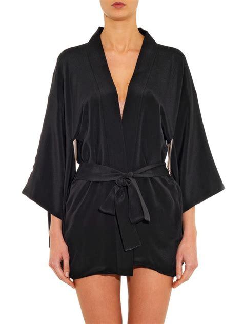 kimono robe silk lyst fleur du mal haori silk kimono robe in black