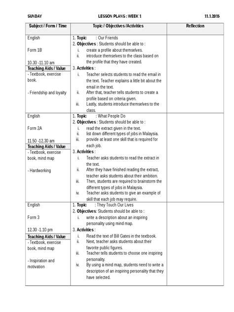 contoh ea form complete contoh complete lesson plan rph bahasa inggeris form 1 2 3