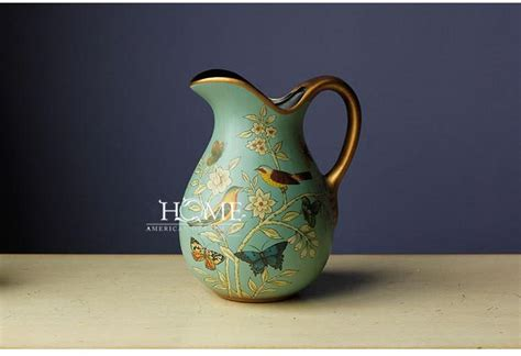 Home Decoration Beautiful Antique Bird Style Porcelain Tea Pot Classic White And Blue American Style Bird And Flower Painting Flower Vase Vintage Ceramic Vase Without Flowers Home